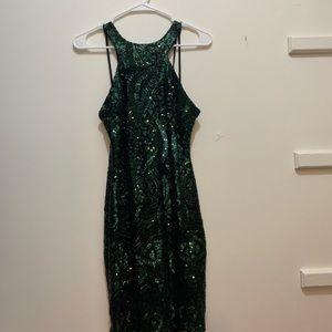 sequined mini body con dress